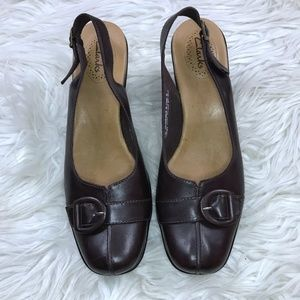 Clarks Size 10 Brown Leather Buckle Wedges Heels